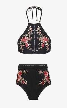 Zimmermann Sakura floral embroidery halter-neck bikini top, $270; Zimmermann Sakura embroidered bikini briefs, $265.