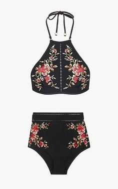 Zimmermann Sakura floral embroidery halter-neck bikini top, $270; Zimmermann Sakura embroidered bikini briefs, $265.