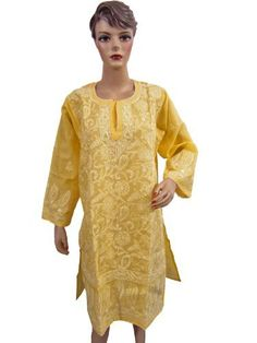 Womens Kurta India Cotton Tunic , Yellow Chikan Embroidery Summer Dresses Large Mogul Interior,http://www.amazon.com/dp/B008UOAPQW/ref=cm_sw_r_pi_dp_.ft2qb1KAB6YTX4D