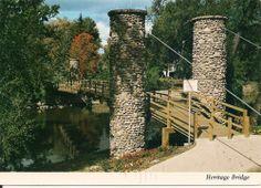 Postcard OWOSSO Michigan Heritage Bridge