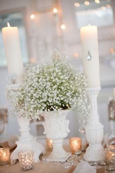 Burlap and Bling decor- Baby's breath- Cheap and so so pretty with this theme