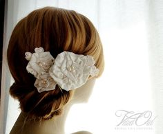 Leila silk dupioni and lace flowers SET of 3 by VelvetOwl on Etsy, $52.00