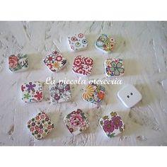 10 bottoni legno quadrati dipinti charm 19 mm bigiotteria 2 fori colori misti