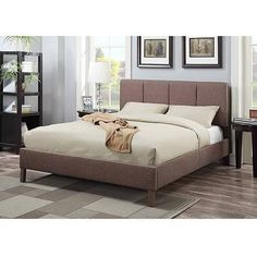 ACME Furniture Rosanna Queen Upholstered Bed, Light Brown
