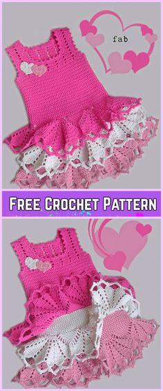 Crochet Girl Ruffle Dress Free Patterns-Crochet Little Girls Valentine dress Free Pattern
