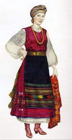 Traditional dress from the Carpathians... hard to say when this style originated because there is much fluctuation in dress depending on who is ruling the area! But I would guess by the shoes that this design is from the late 19th century, though it could easily have been based on pre-Cossack rule.