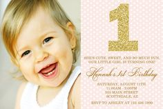 Pink and Gold Birthday Party Invitation Pink and by Honeyprint