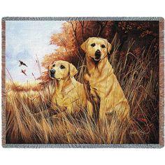 Yellow Labrador Retriever Dogs Art Tapestry Throw