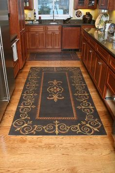 "After seeing these types of ""floor"" cloths, I am obsessed and want one! Paint a drop cloth with acrylic paint and seal with multiple coats of poly"