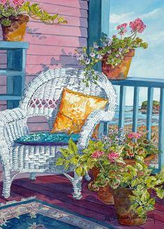 White Wicker and Pink Porch | Joy Lakking Gallery, Bass River, Nova Scotia