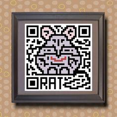 580 Rat Asian zodiac animal as QR code Whimsical  by TwoBananasArt, $20.00
