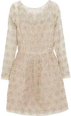 026f0e0280eb Oscar de la Renta Embellished silk-voile mini dress Klänningar Med  Blommönster, Cocktailklänningar,