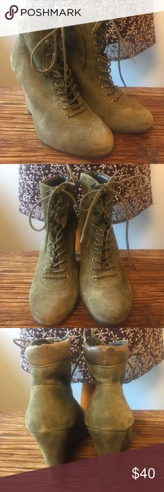 Gorgeous olive green wedge booties. Love the mix of suede and leather. Bought these beauties in NYC and only wore them twice! Comfort and style. Fun color to add to your boot collection. Size 7 could wear these with thicker socks. Pair them with your fave jeans and a pea coat and you're good to go!! Pour la Victoire Shoes