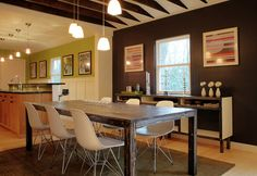 Modern chairs and farm table