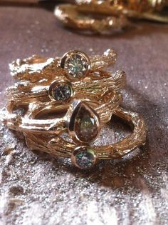 """Oak branch rings cast in 14k, set with Diamonds! My desire to make these started 2 years ago. The cycle is complete...once I set a couple more """"Champagne"""" diamonds. These rings could be made with any gemstone!  www.melissacaron.com"""