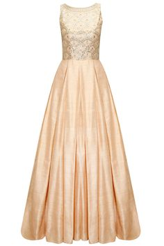 Peach gota patti embroidered gown available only at Pernia's Pop-Up Shop.