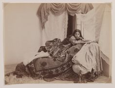 badesaba:    Qajar Era Reclining Lady Reading a Book  Antoin Sevruguin