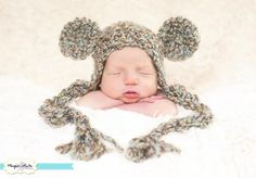 Photography Prop: Newborn Teddy Bear Earflap Beanie in Driftwood    Adorable Photography prop crocheted with soft & bulky quality yarn in