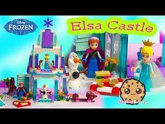 Queen Elsa Sparkling Ice Castle Disney Frozen Princess Anna Olaf Snowman LEGO Playset Unboxing Video - YouTube
