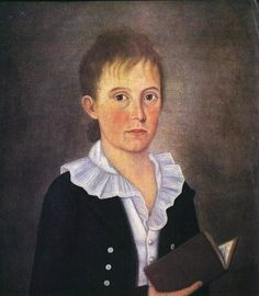 """""""Boy with Book"""", 1800, by John Brewster, Jr. (American, 1766-1854)"""