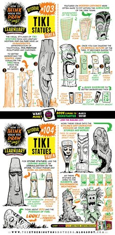 Ethereal Learn To Draw Comics Ideas. Fantastic Learn To Draw Comics Ideas. Drawing Techniques, Drawing Tips, Drawing Reference, Tiki Statues, Funny Statues, Buddha Statues, Tiki Art, Tiki Tiki, 3d Drawings