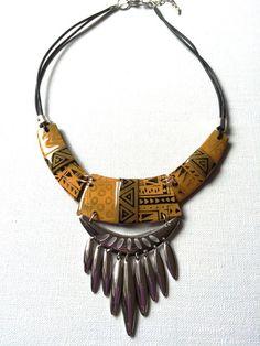 Bold tribal necklace polymer clay pinterest bald hairstyles collier ras de cou khops noirdor avec breloques nouvelle collection aloadofball Image collections