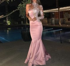 Plus Size Prom Dress, Charming Pink Satin One Sleeve High Neck Sweetheart Mermaid Long Prom Dress Shop plus-sized prom dresses for curvy figures and plus-size party dresses. Ball gowns for prom in plus sizes and short plus-sized prom dresses Pink Prom Dresses, Prom Dresses With Sleeves, Mermaid Evening Dresses, Formal Evening Dresses, Pink Dress, Evening Gowns, Dress Formal, Bridesmaid Dresses, Evening Party