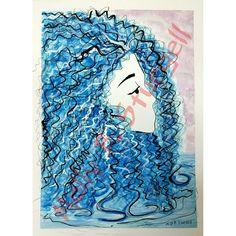 Blue River woman By Molly B. Sturgell #watercolor #blue #silver #ink by Molly B. Sturgell