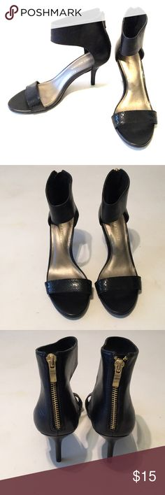 Audrey Brooke heels These simple black Audrey Brooke sandal heels are great to pair with almost any outfit. Snakeskin embossed on the strap across the toes. Worn once, in verse good condition. 2 inch heels. Audrey Brooke Shoes Heels