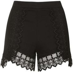 TopShop High-Waisted Lace Trim Shorts featuring polyvore, women's fashion, clothing, shorts, bottoms, short, topshop, black, highwaist shorts, high waisted lace shorts, lace short shorts, high waisted shorts and zipper shorts