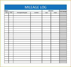 Free Printable Mileage Log Four Columns  Printables