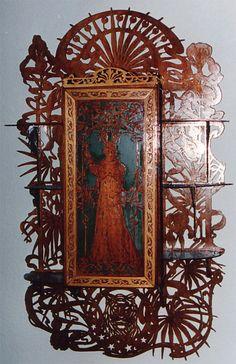 Art nouveau cabinet, scroll saw fretwork pattern
