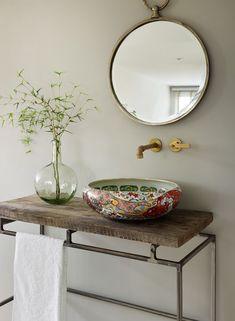 The YASMIN multi-coloured porcelain basin with a contemporary Asian feel. The gold detail gives it a luxurious touch. Bathroom Interior Design, Interior Decorating, Decorating Ideas, Design Your Home, House Design, Ideas Baños, Decor Ideas, Beautiful Bathrooms, Bathroom Inspiration