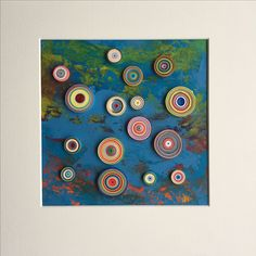 Abstract Quilling circles and mixed acrylic paint Quilling Designs, Clock, Abstract, Frame, Circles, Artwork, Gifts, Handmade, Painting