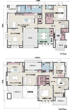 間取り図 Dream House Plans, House Floor Plans, Japan Modern House, Craftsman Floor Plans, Sims House Design, Apartment Layout, Japanese House, Home Design Plans, Architecture Plan