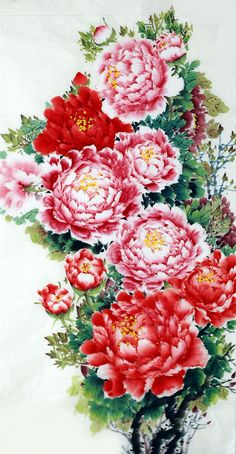 Chinese peony painting by Xia Yuhe.