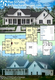Architectural Designs Modern Farmhouse Plan 51758HZ client-built in Tennessee. More photos online. Ready when you are. Where do YOU want to build? Send us pictures when you do!!!