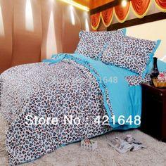 Blue leopard print ruffle bedding set princess bed set twin full queen korean sheet duvet quilt coverlet