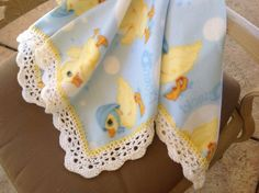 Yellow Duck Fleece Nursery Blanket, Crocheted Blanket, Baby Blanket by Lorettescottage on Etsy
