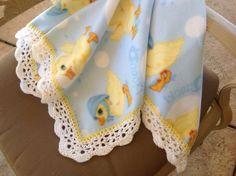 Yellow Duck Fleece Nursery Blanket, Crocheted Blanket, Baby Blanket by Lorettescottage on Etsy