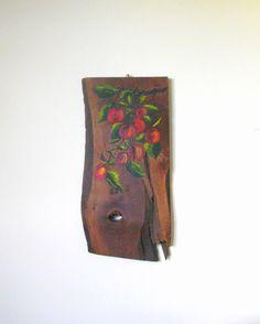 Vintage Oil Painting Apple Tree Reclaimed Wood Vintage by Sfuso