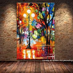 Cheap lamp case, Buy Quality decorative ceiling lamp directly from China lamp home decor Suppliers: Free Shipping knife The vibrant autumn street trees 100% handmade modern abstract oil painting canvas home decoration 60