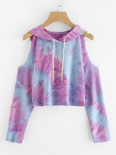 Cheap cute t shirt, Buy Quality t shirt directly from China tie dye top Suppliers: ROMWE Tie Dye Open Shoulder Crop Hooded Tee 2016 New Autumn Multicolor Tie Dye Top Cold Shoulder Long Sleeve Cute T Shirt Girls Fashion Clothes, Teen Fashion Outfits, Outfits For Teens, Cool Outfits, Casual Outfits, Diy Vetement, Ideias Fashion, Women, Cold Shoulder