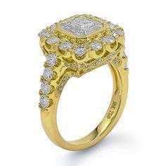 Illusion Mosaic Center Yellow Gold Ring