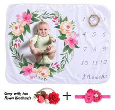 NinkyNonk Soft Fleece Floral Milestone Blanket Monthly Baby Growth Blanket with Flower Headbands DIY Photography Background Props Set for Newborn Girls Baby Flower Headbands, Diy Headband, Baby Monthly Milestones, Monthly Baby, Milestone Pictures, Baby Milestone Blanket, Baby Growth, Photo Blanket, Background For Photography