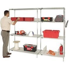 Quantum Storage Systems Starter Kit for High Wire Shelving Unit, Chrome Finish, 800 lb. Per Shelf Capacity, Height x Width x Depth Boltless Shelving, Wire Shelving Units, Steel Shelving, Shelving Systems, Storage Systems, Utility Shelves, Shelf Bins, Storage Bins, Garage Storage