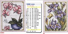 Orchid and irises with butterfly - free cross stitch pattern