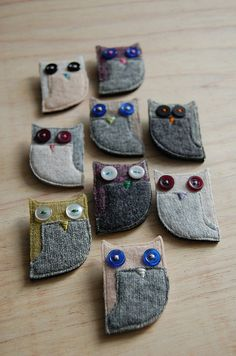 Handmade owl brooches - made with recycled wool  buttons