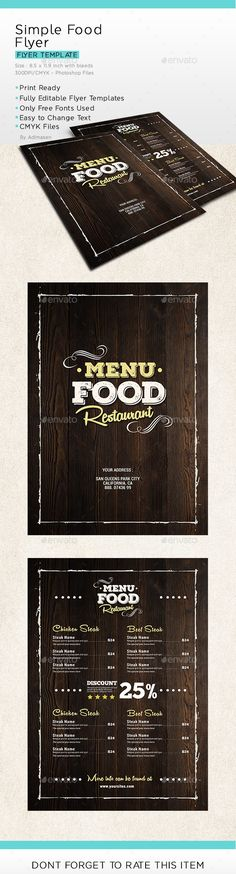 Simple Food Menu Flyer - Food Menus Print Templates
