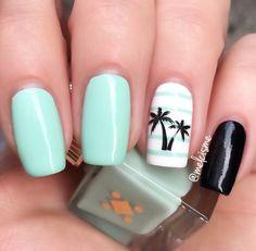 "Beautiful Mint by Miami Deco - ""Petite Palm""   #mint #mintnails #palmtree #palmtreenails"